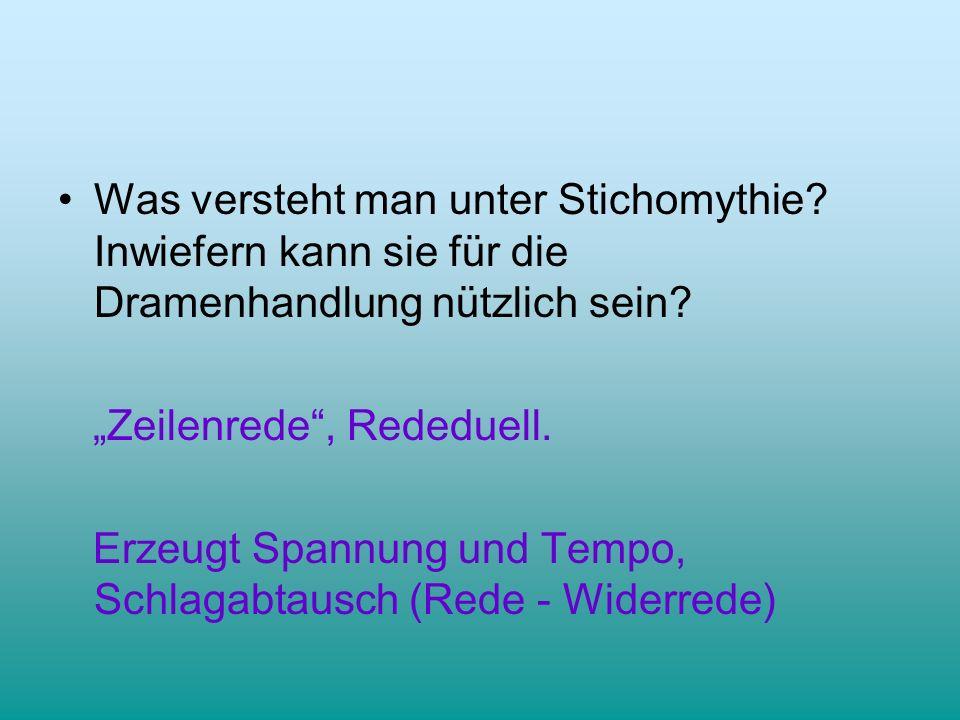 Was versteht man unter Stichomythie