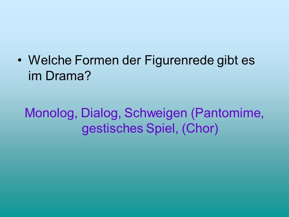 Monolog, Dialog, Schweigen (Pantomime, gestisches Spiel, (Chor)