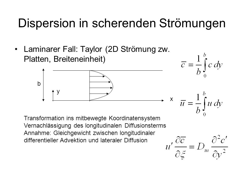Dispersion in scherenden Strömungen