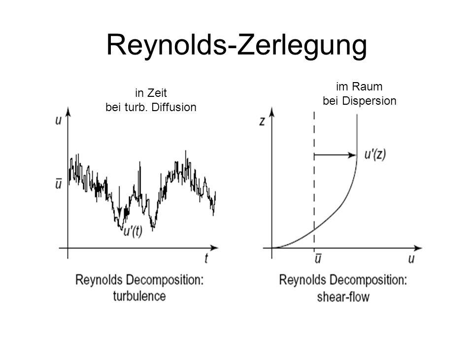 Reynolds-Zerlegung im Raum bei Dispersion in Zeit bei turb. Diffusion