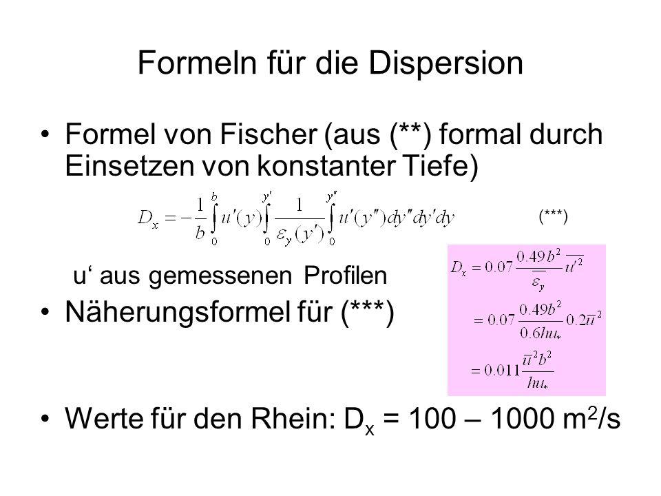 Formeln für die Dispersion