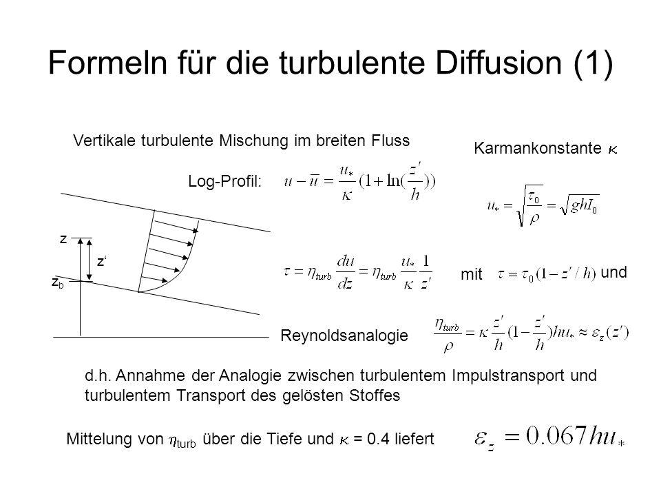 Formeln für die turbulente Diffusion (1)