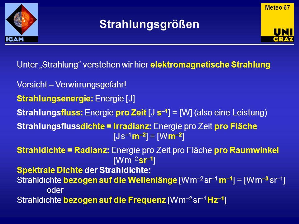 """Meteo 67 Strahlungsgrößen. Unter """"Strahlung verstehen wir hier elektromagnetische Strahlung. Vorsicht – Verwirrungsgefahr!"""