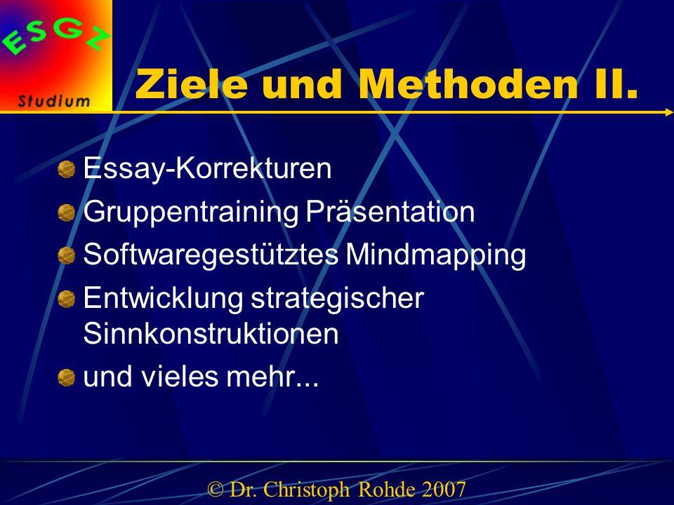 Ziele und Methoden II. Essay-Korrekturen Gruppentraining Präsentation