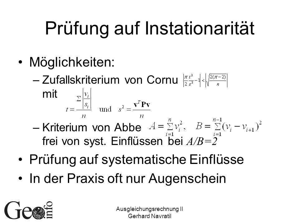 Prüfung auf Instationarität