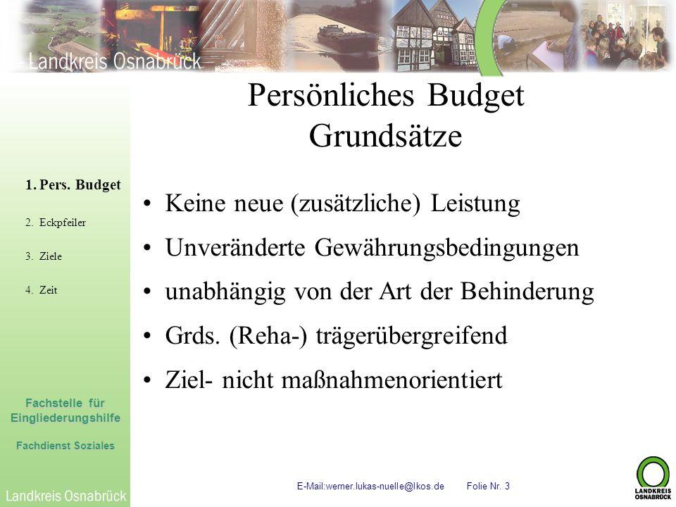 Persönliches Budget Grundsätze Keine neue (zusätzliche) Leistung