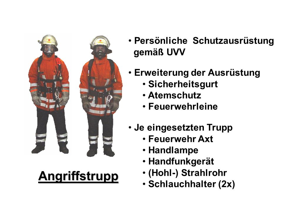 Atemschutz – Konzept Angriffstrupp Persönliche Schutzausrüstung