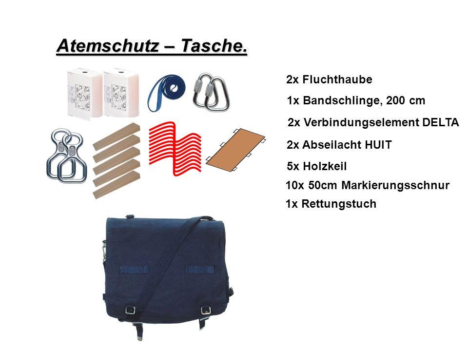 Atemschutz – Konzept Atemschutz – Tasche. 2x Fluchthaube
