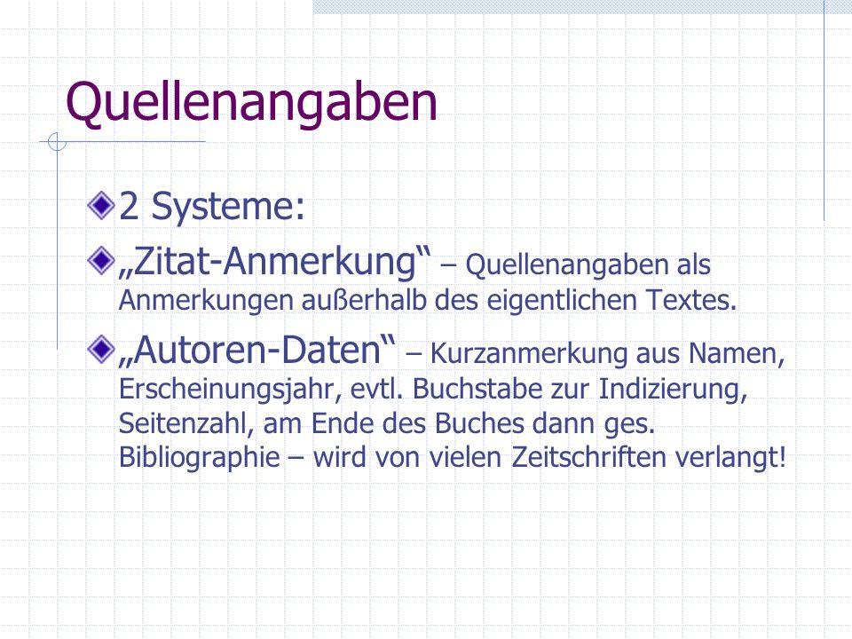 Quellenangaben 2 Systeme: