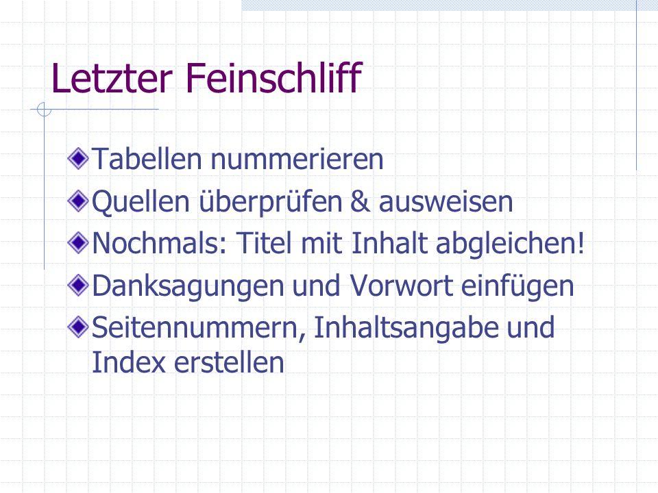 Letzter Feinschliff Tabellen nummerieren
