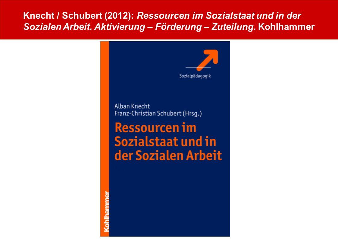 Knecht / Schubert (2012): Ressourcen im Sozialstaat und in der Sozialen Arbeit. Aktivierung – Förderung – Zuteilung. Kohlhammer