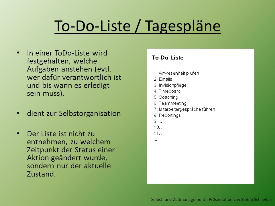 To-Do-Liste / Tagespläne