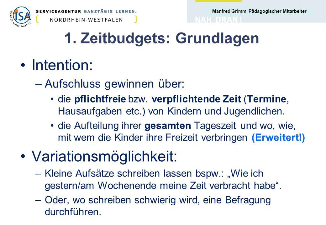 1. Zeitbudgets: Grundlagen