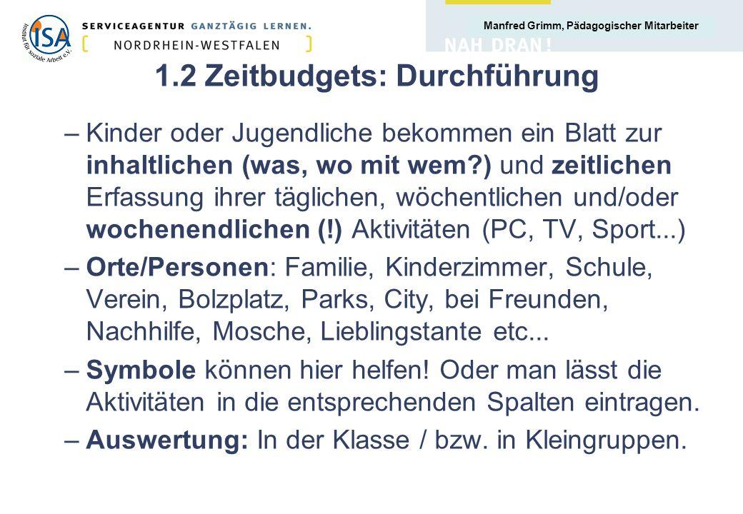 1.2 Zeitbudgets: Durchführung