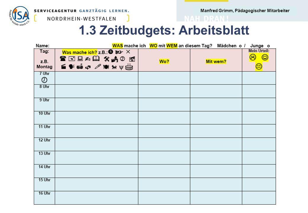 1.3 Zeitbudgets: Arbeitsblatt