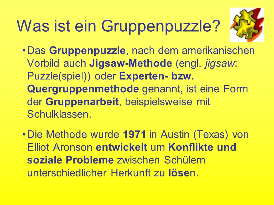 Was ist ein Gruppenpuzzle