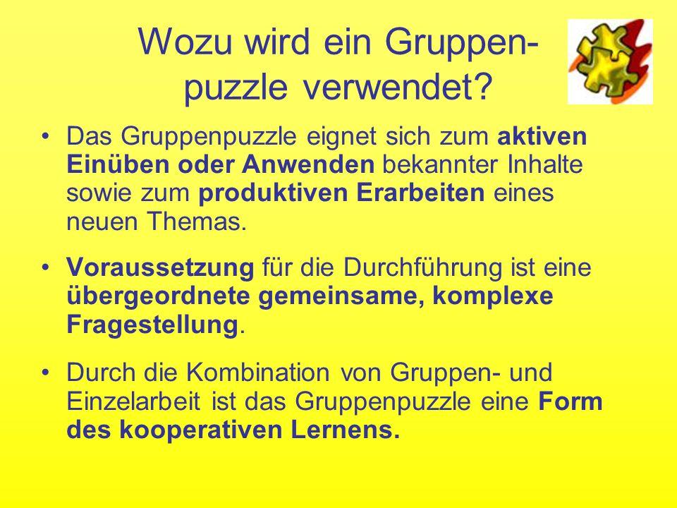 Wozu wird ein Gruppen- puzzle verwendet
