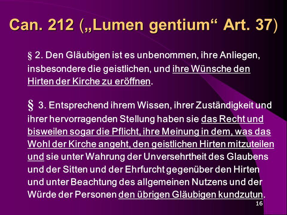 """Can. 212 (""""Lumen gentium Art. 37)"""