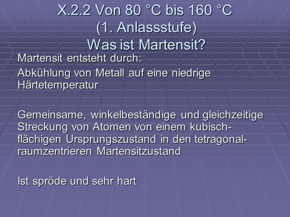 X.2.2 Von 80 °C bis 160 °C (1. Anlassstufe) Was ist Martensit