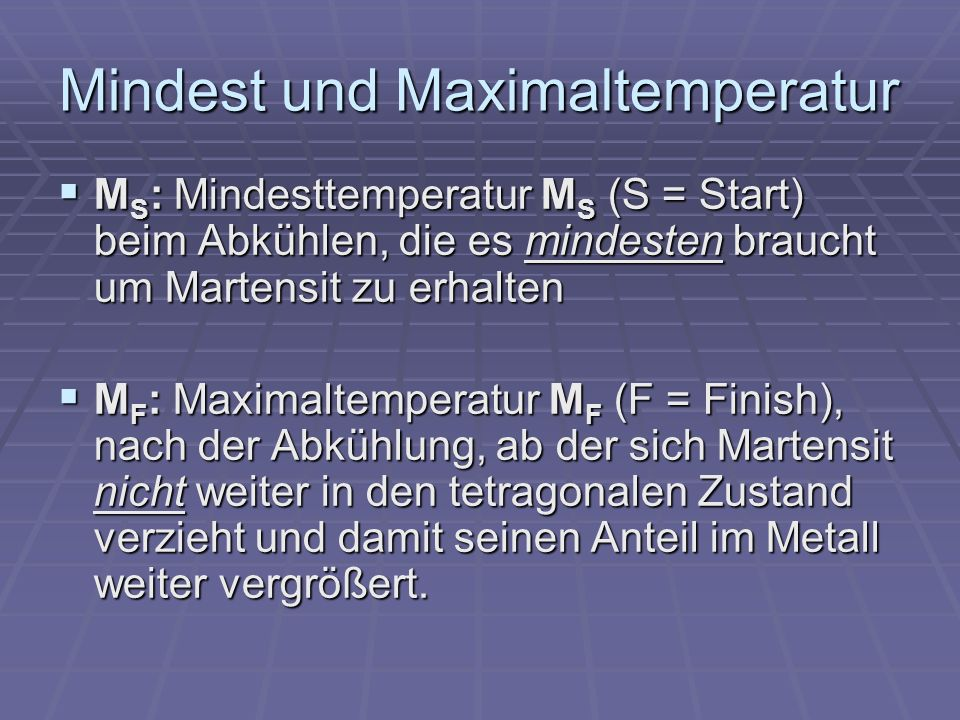 Mindest und Maximaltemperatur
