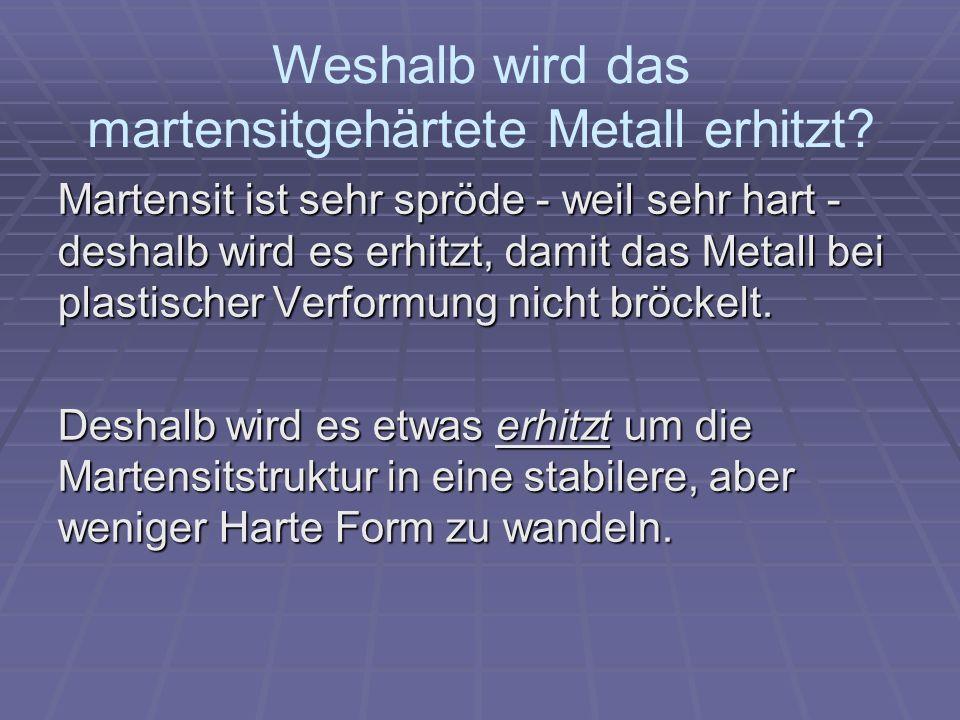 Weshalb wird das martensitgehärtete Metall erhitzt