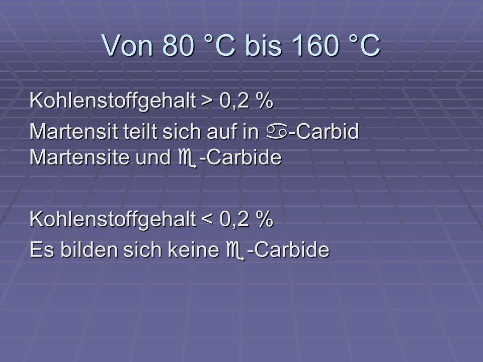 Von 80 °C bis 160 °C Kohlenstoffgehalt > 0,2 %