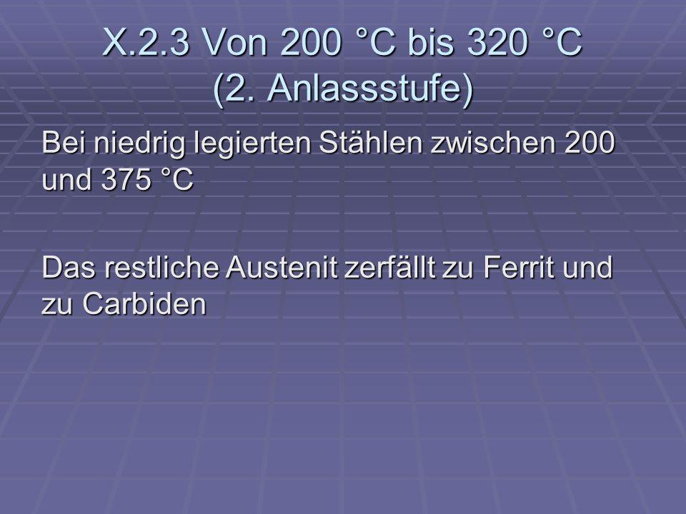 X.2.3 Von 200 °C bis 320 °C (2. Anlassstufe)