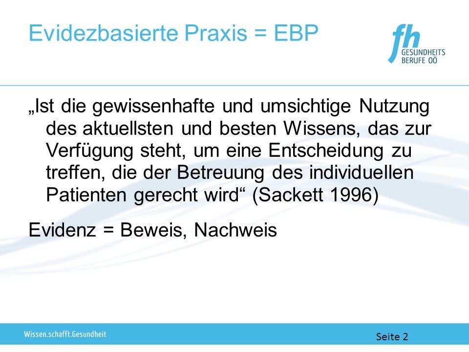 Evidezbasierte Praxis = EBP