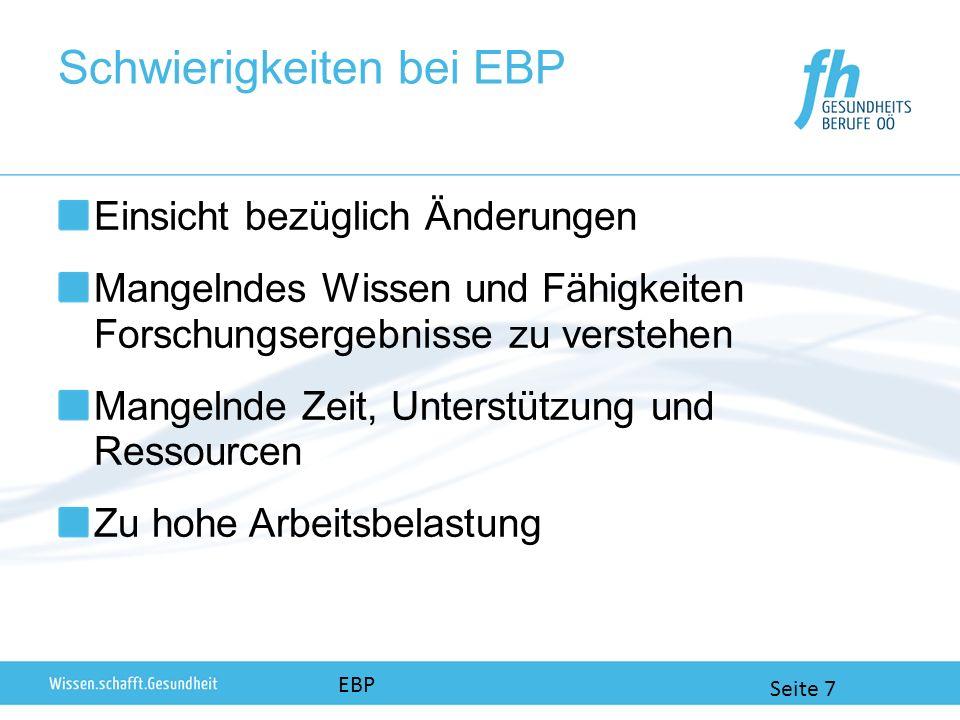 Schwierigkeiten bei EBP