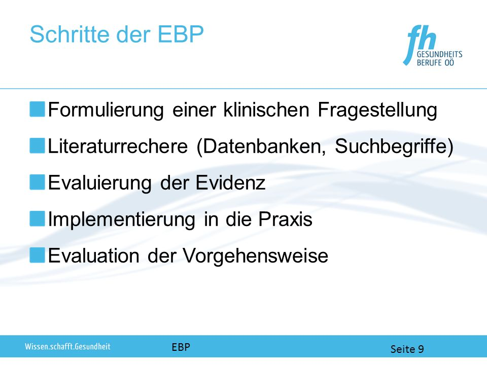Schritte der EBP Formulierung einer klinischen Fragestellung
