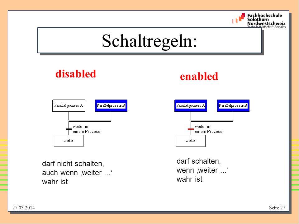 Schaltregeln: disabled enabled darf schalten, darf nicht schalten,