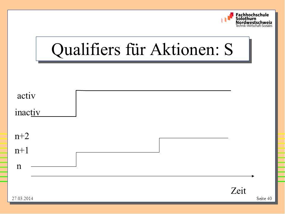 Qualifiers für Aktionen: S