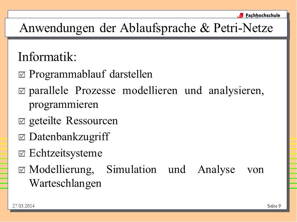 Anwendungen der Ablaufsprache & Petri-Netze