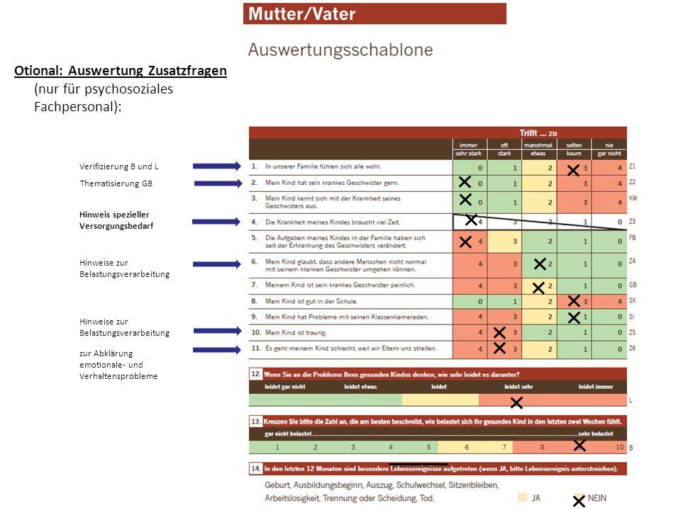 Otional: Auswertung Zusatzfragen (nur für psychosoziales Fachpersonal):
