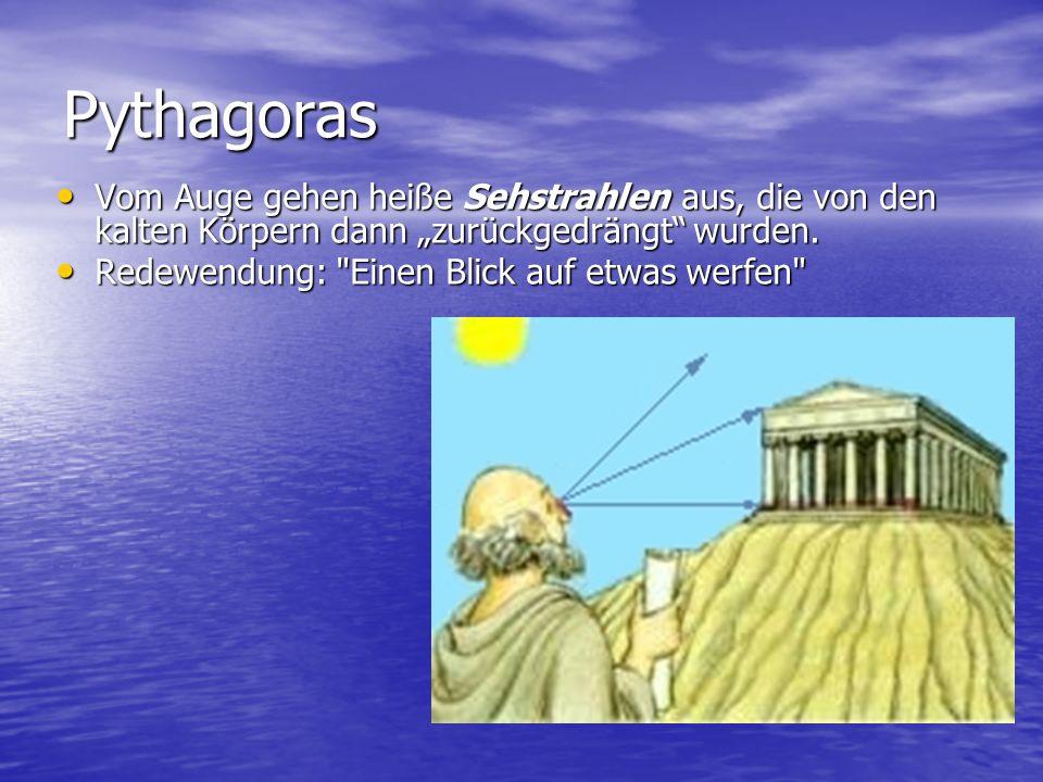 """Pythagoras Vom Auge gehen heiße Sehstrahlen aus, die von den kalten Körpern dann """"zurückgedrängt wurden."""
