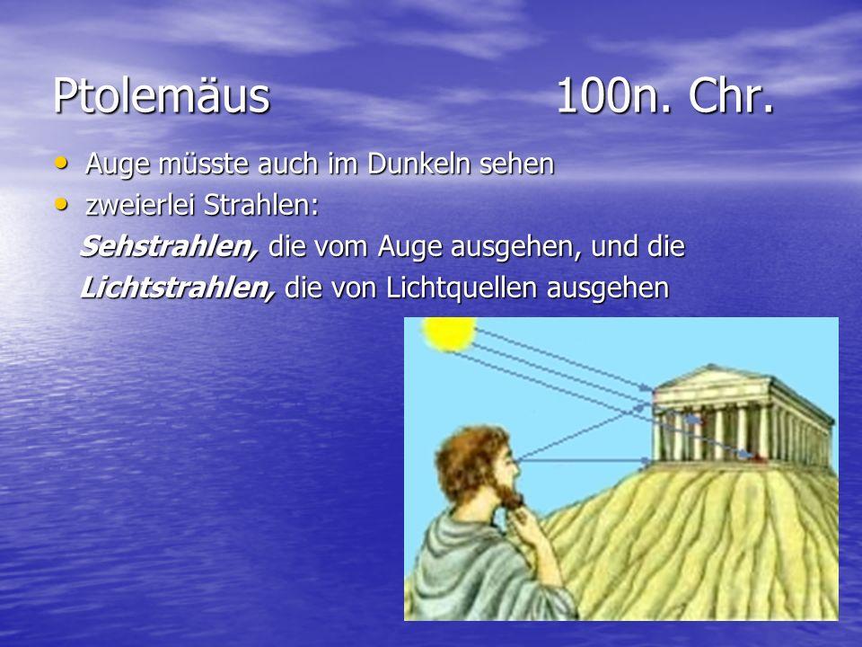 Ptolemäus 100n. Chr. Auge müsste auch im Dunkeln sehen