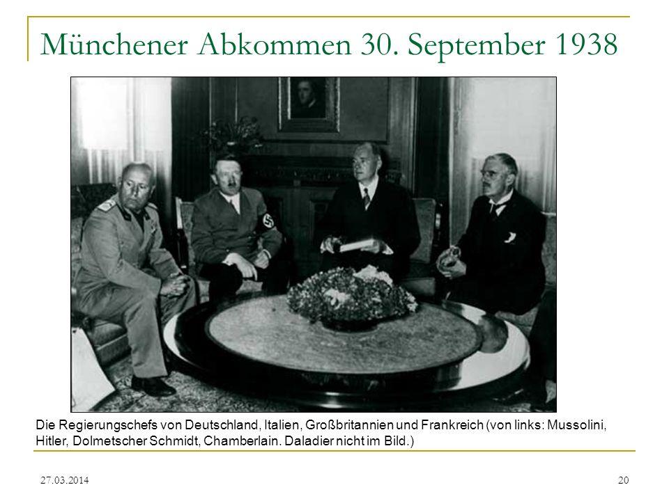 Münchener Abkommen 30. September 1938