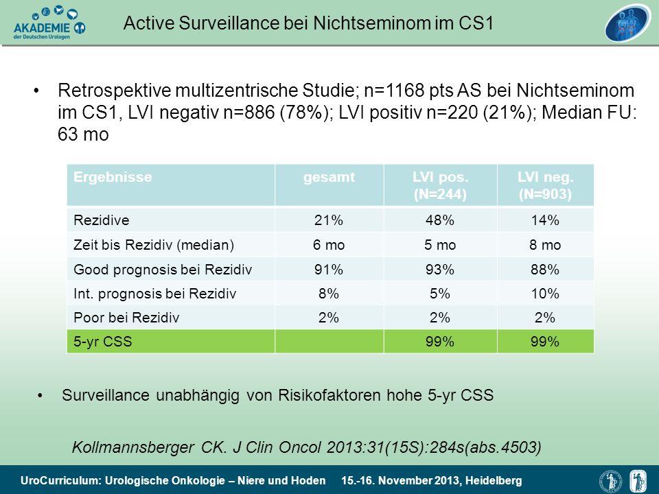 Active Surveillance bei Nichtseminom im CS1