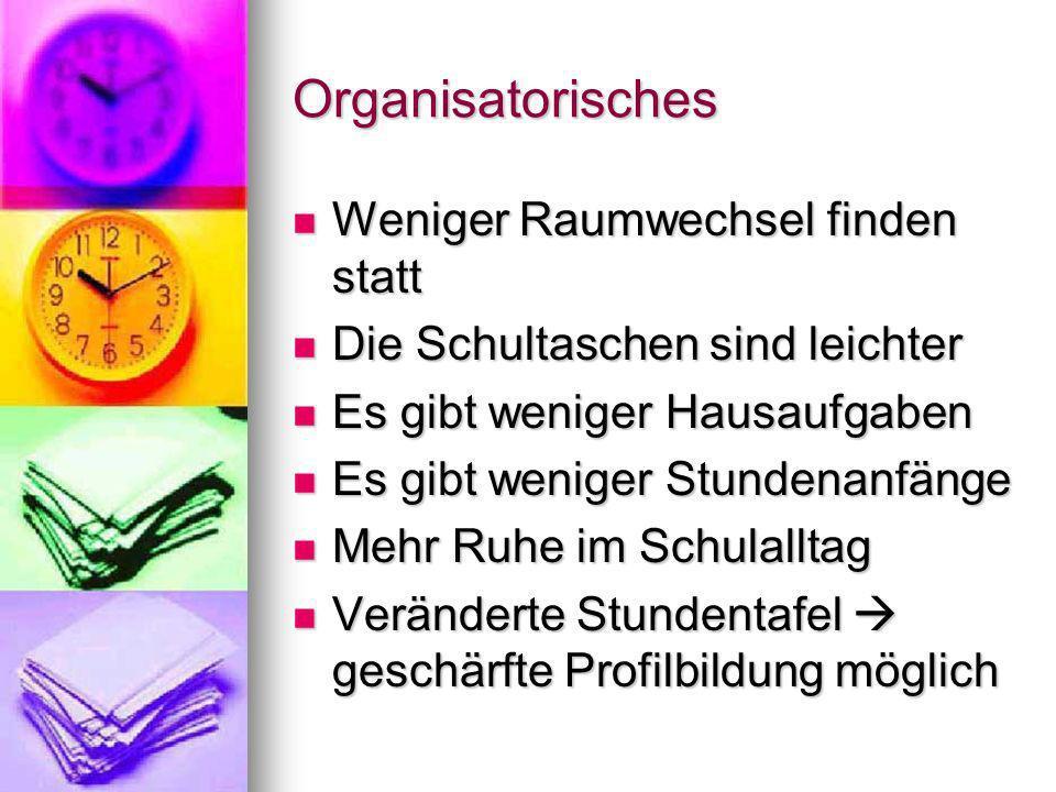 Organisatorisches Weniger Raumwechsel finden statt