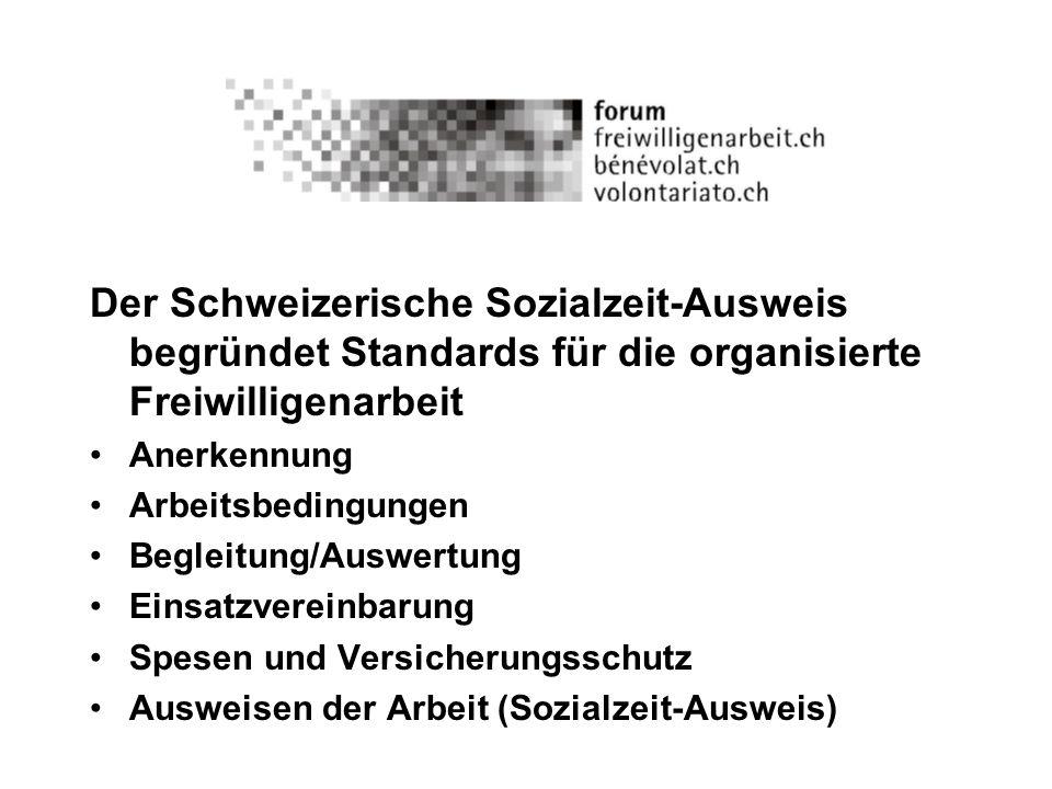 Der Schweizerische Sozialzeit-Ausweis begründet Standards für die organisierte Freiwilligenarbeit