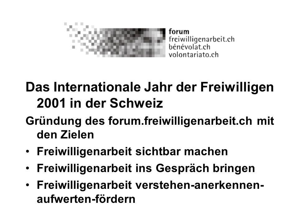 Das Internationale Jahr der Freiwilligen 2001 in der Schweiz