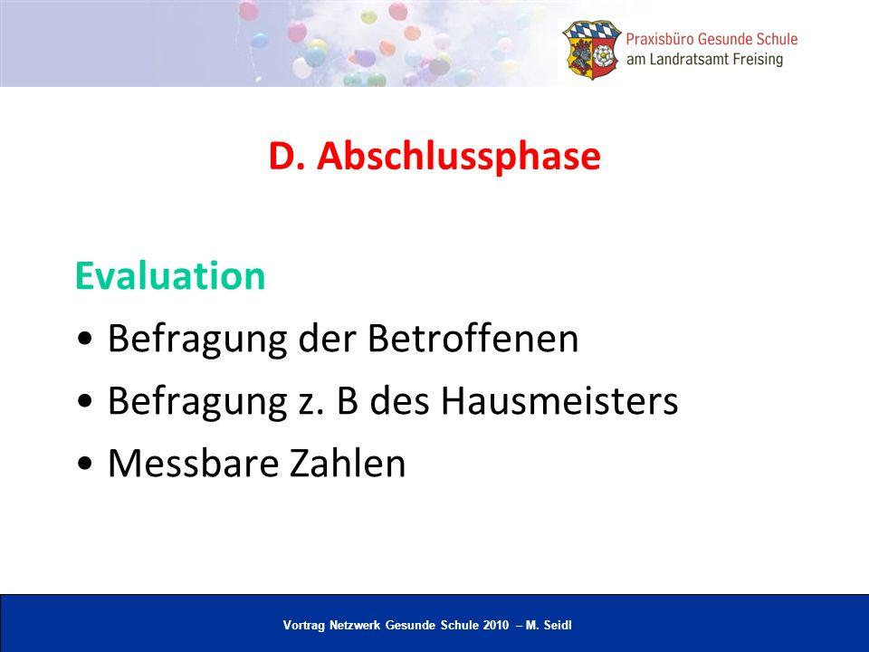 D. Abschlussphase Evaluation. Befragung der Betroffenen.