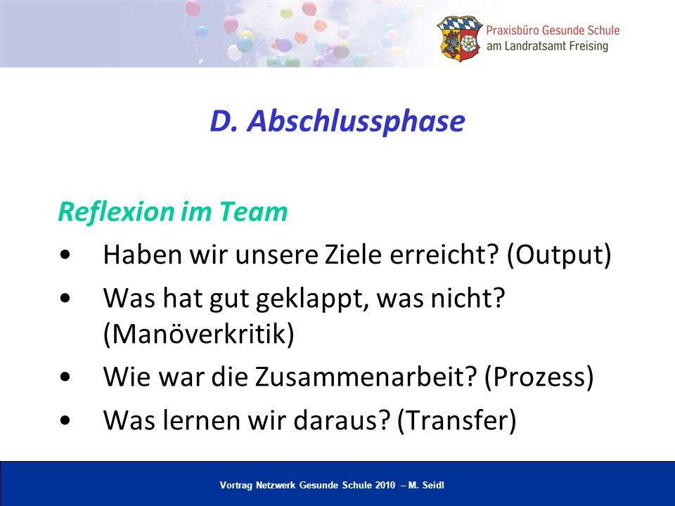 D. Abschlussphase Reflexion im Team