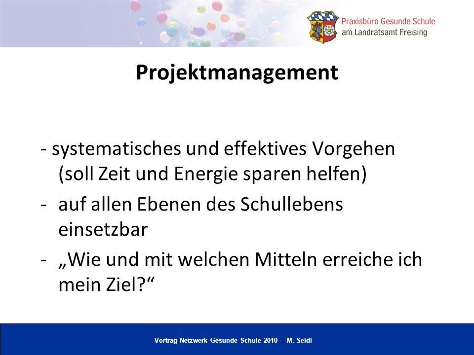 Projektmanagement- systematisches und effektives Vorgehen (soll Zeit und Energie sparen helfen) auf allen Ebenen des Schullebens einsetzbar.