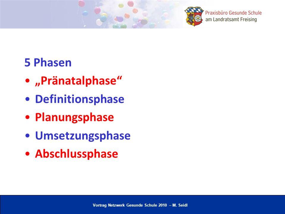 """5 Phasen """"Pränatalphase Definitionsphase Planungsphase Umsetzungsphase Abschlussphase"""