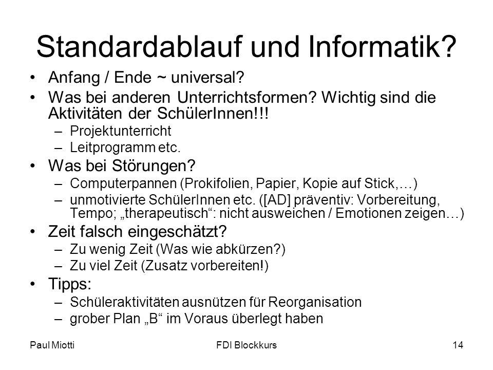 Standardablauf und Informatik