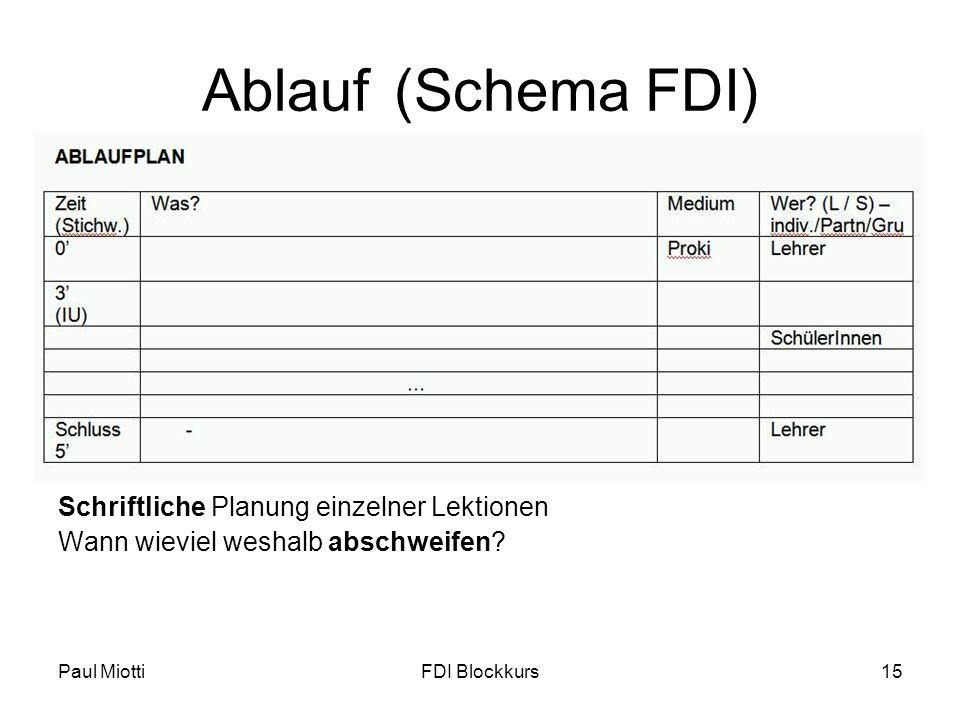 Ablauf (Schema FDI) Schriftliche Planung einzelner Lektionen