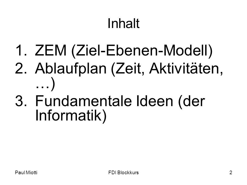 ZEM (Ziel-Ebenen-Modell) Ablaufplan (Zeit, Aktivitäten, …)