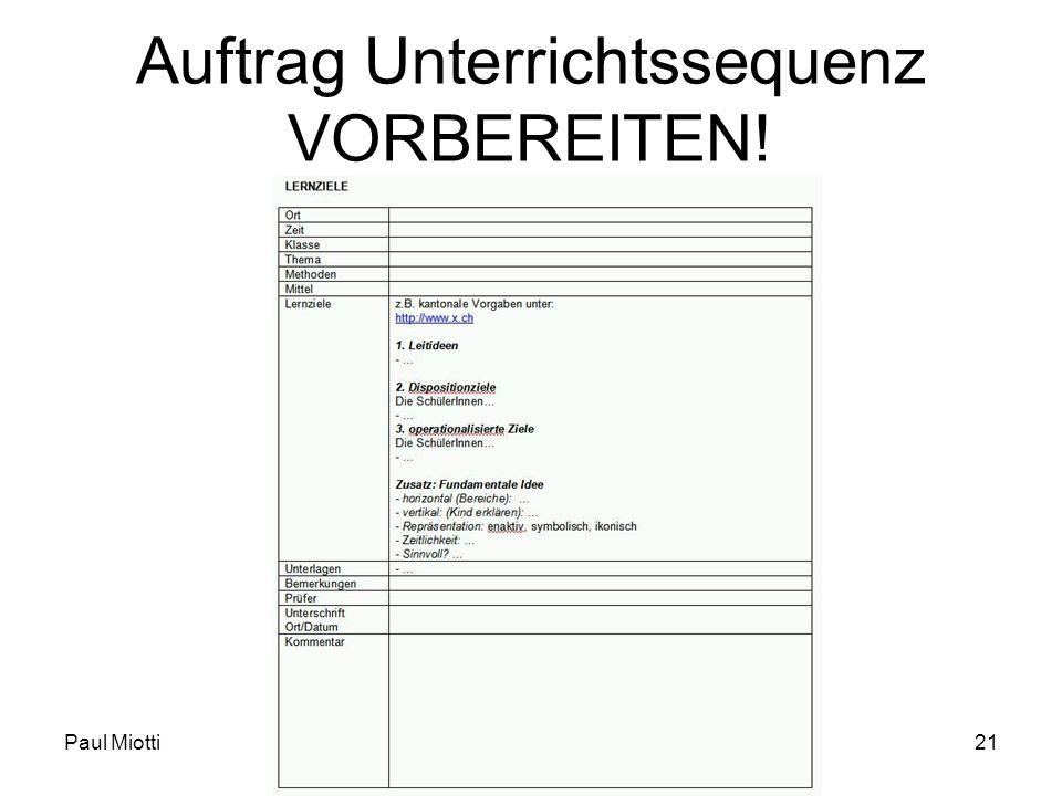 Auftrag Unterrichtssequenz VORBEREITEN!