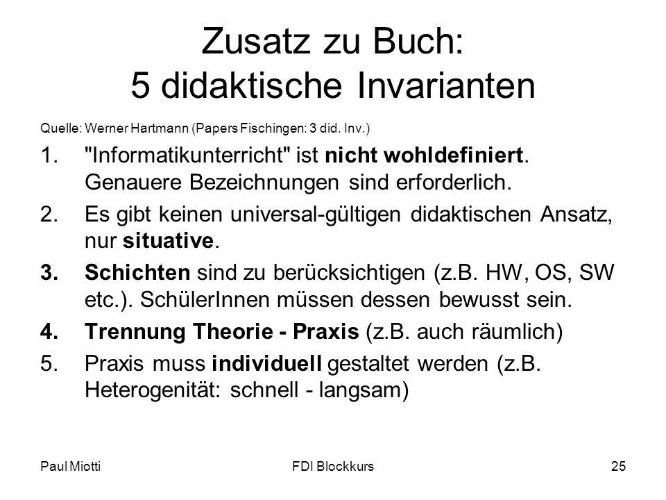 Zusatz zu Buch: 5 didaktische Invarianten
